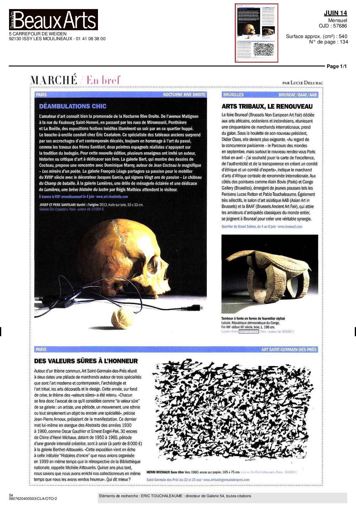 Beaux Arts Magazine Juin 2014