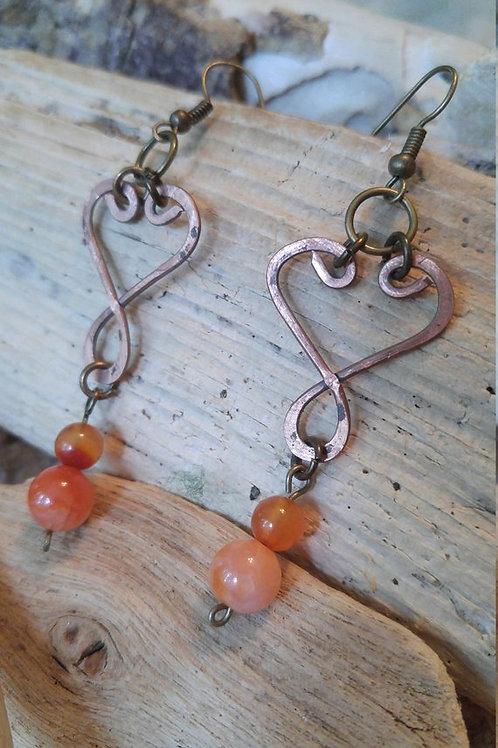 Copper Heart shape earrings with orange stones
