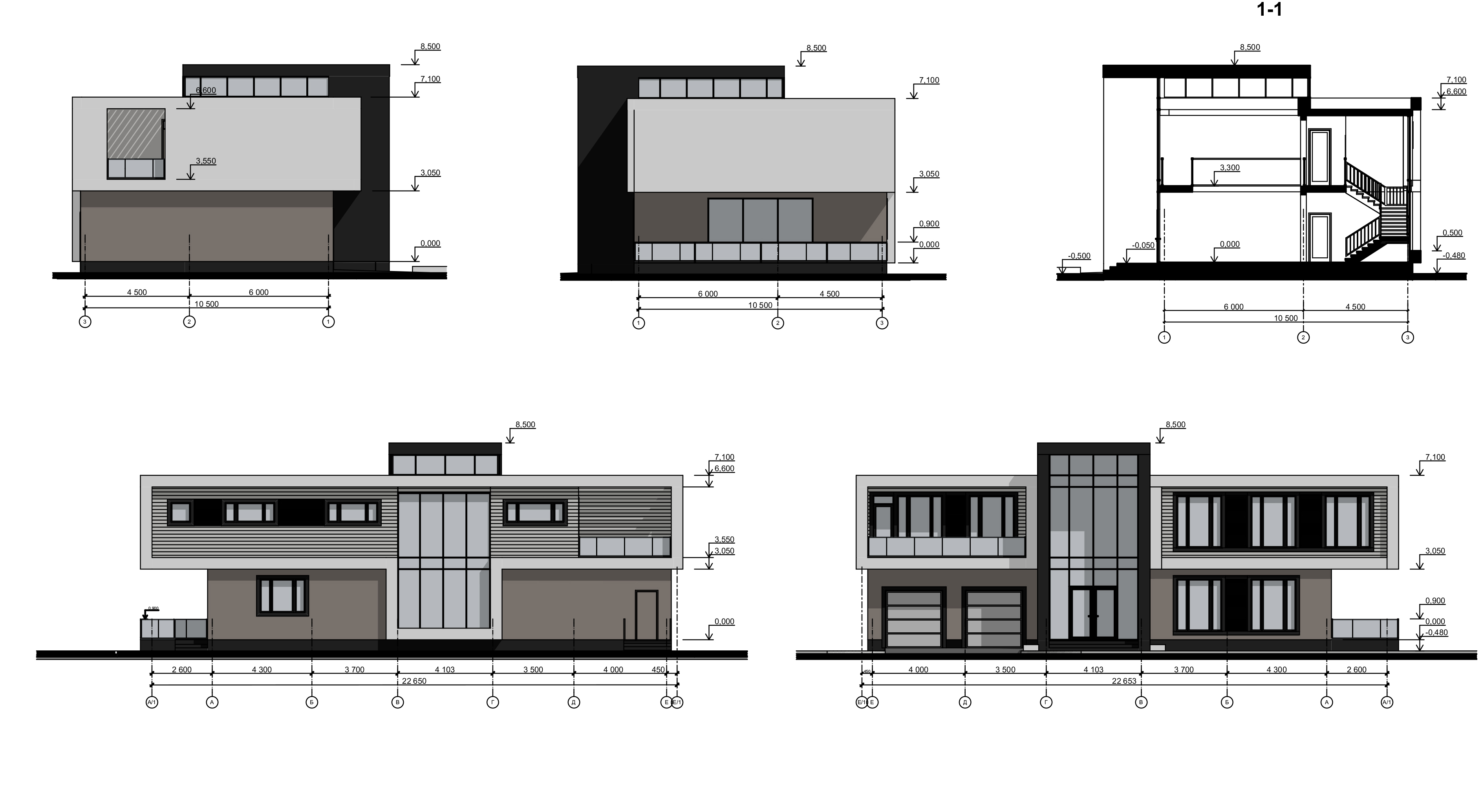 фасады и разрезы