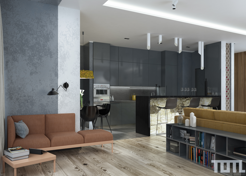 Релакс-зона. Вид на кухню-столовую