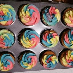 Rainbow Swirl Vanilla Cupcakes