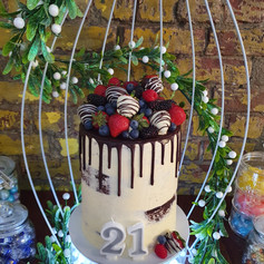Double Barrel Semi-Naked Chocolate Cake with Drip and Berries