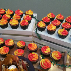 Carrot 'campfire' cupcakes with cream cheese frosting