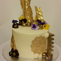 Chocolate Mud with Gold and Edible Flowers