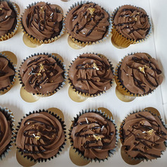 Chocolate Cupcakes with gold foil