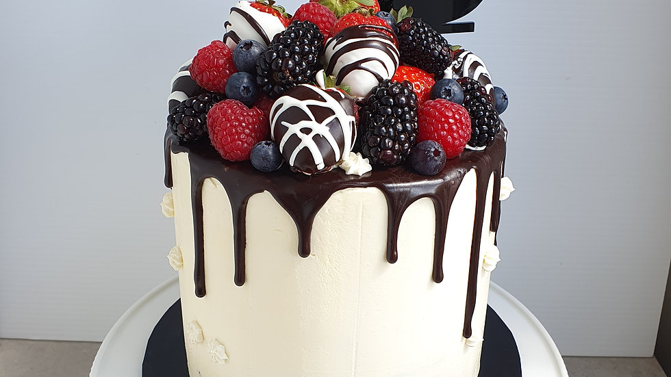 Chocolate Drip Cake with Berries