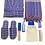 Thumbnail: Mavi Peştemal Bornoz Set 8 Parça % 100 Pamuk