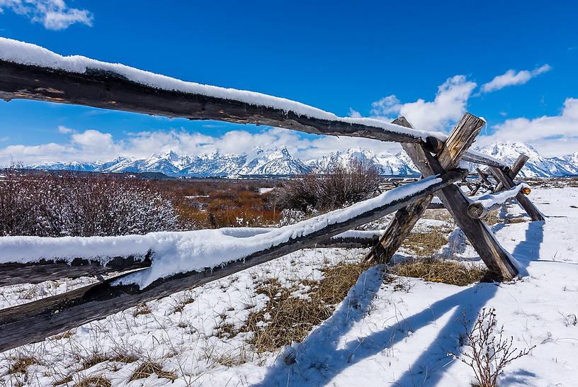 Grand Teton Range through a Fence