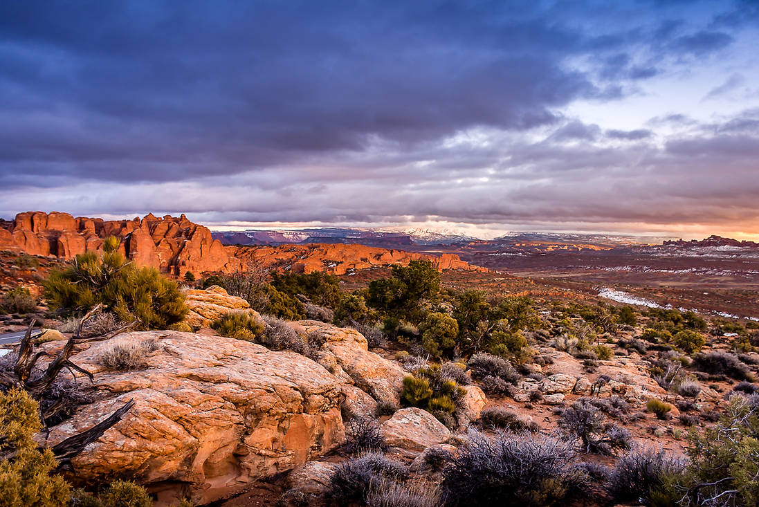 Arches National Park Sunset after a Storm