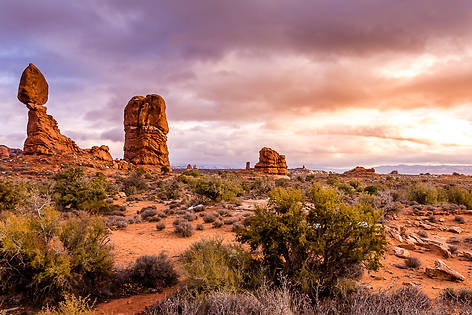 Sunset of Balanced Rock in Arches