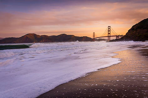 Waves Crash on Baker Beach at Sunrise
