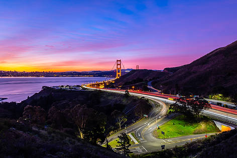 Sunrise over San Francisco and Highway 101