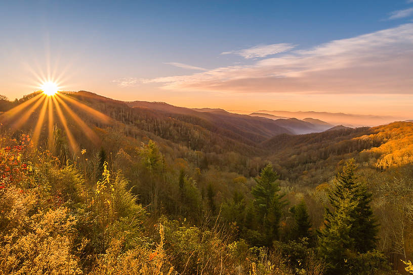 Great Smoky Mountains Oconaluftee Valley at Sunrise