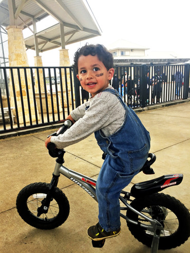Kade on his bike