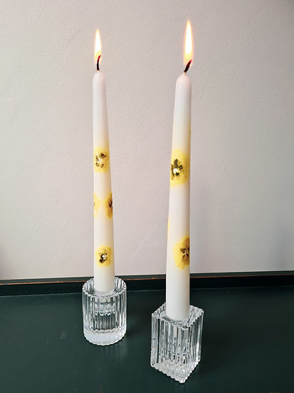 Pair of Ribbed Candle Holders