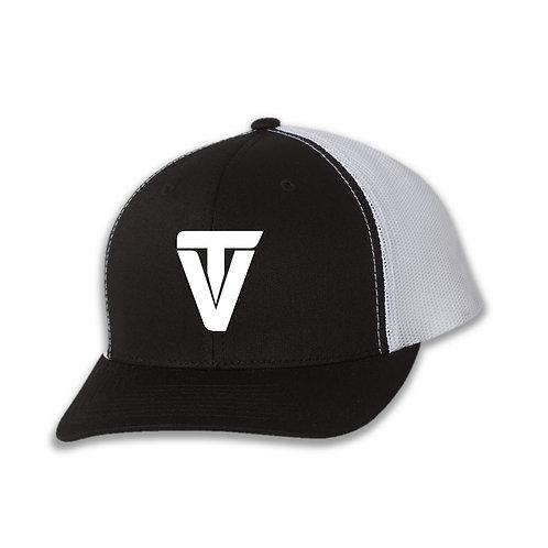 """TV"" White on Black Retro Trucker Cap"