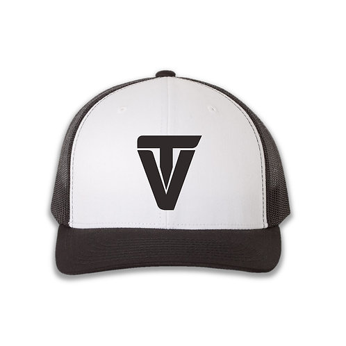 """TV"" Black on White Retro Trucker Cap"