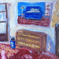 Peinture à l'huis sur papier marouflé sur un panneau