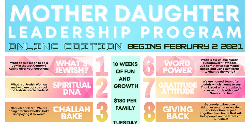 Mother Daughter Leadership Program Online Edition Tuesday Nights