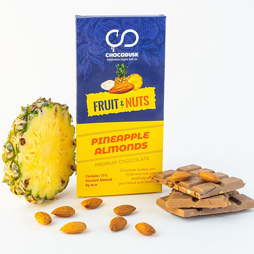 Fruit & Nuts with Pineapple Flavoured Premium Chocolate Bar, 85 Gram