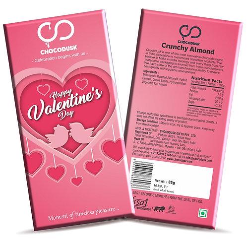 Happy Valentine's Day (Pink) Chocolate Bar, 85 Gram