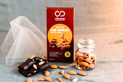 Sugarfree Dark Chocolate Bar with 50% Almond, 85 gram