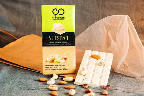 NutsBar Chocolate Bar loaded from White Chocolate with Almond, Cashew Nuts & Pis