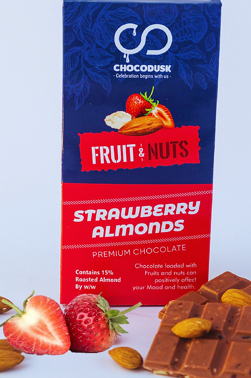 Fruit & Nuts with Strawberry Flavoured Premium Chocolate Bar, 85 Gram