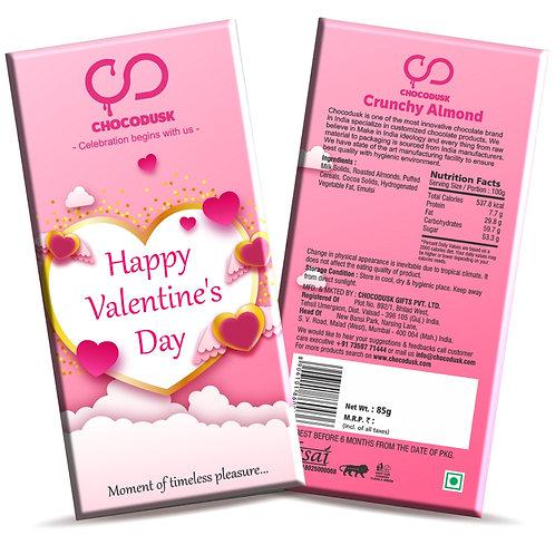 Happy Valentine's Day ( Cloudy Pink) Chocolate Bar, 85 gram