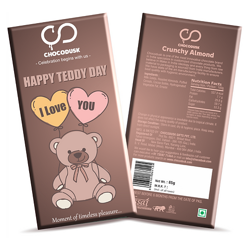 Happy Teddy Day Chocolate Bar, 85 gram