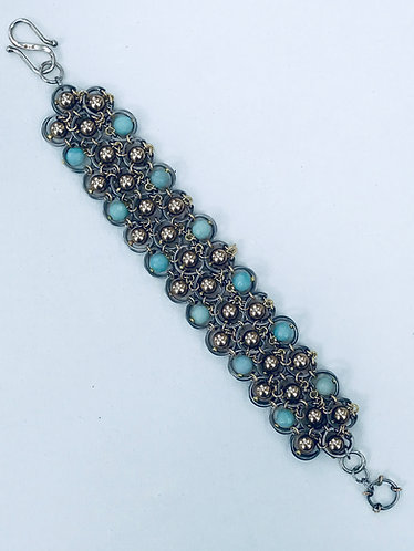 Champagne Pearl with Sea Foam Aventurine large woven Bracelet
