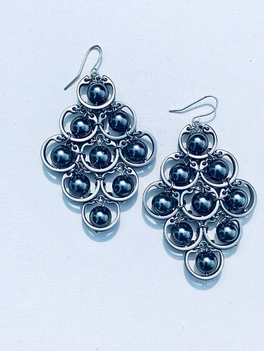 Large Grey Pearl Fan Earring
