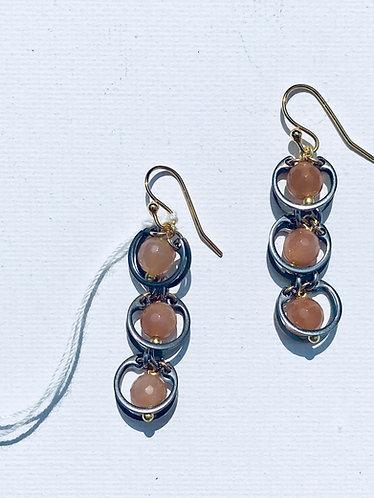 Triple Station Peach Moonstone Earring