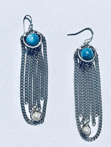 Blue Apatite Fringe Earring