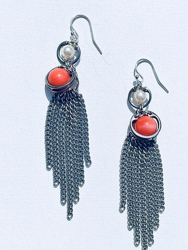 Coral Fringe Earring