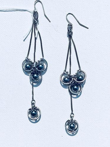 Grey Pearl Long Drop Station Earring
