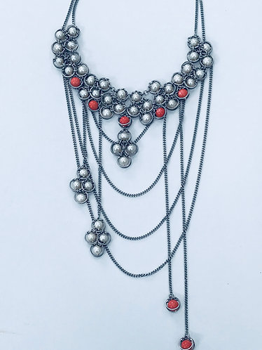 Fresh Water Pearl with Angel Skin Coral Bib Necklace