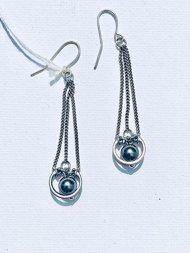Grey Pearl Long Drop Earring