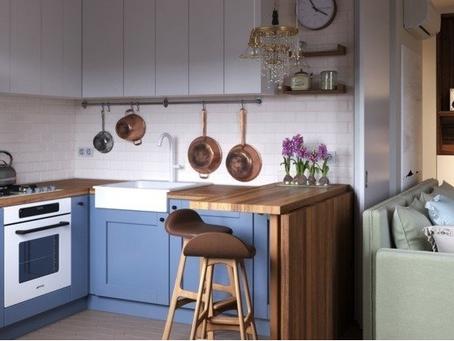 Примеры оформления  кухни и гостиной  в хрущевке.