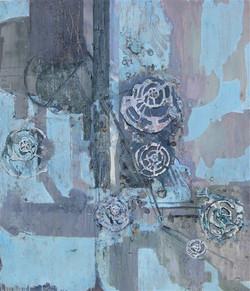 zonder titel,150 x 130 cm, gemengde techniek op doek