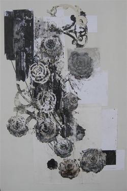 zonder titel,150 x 100 cm, collage op papier