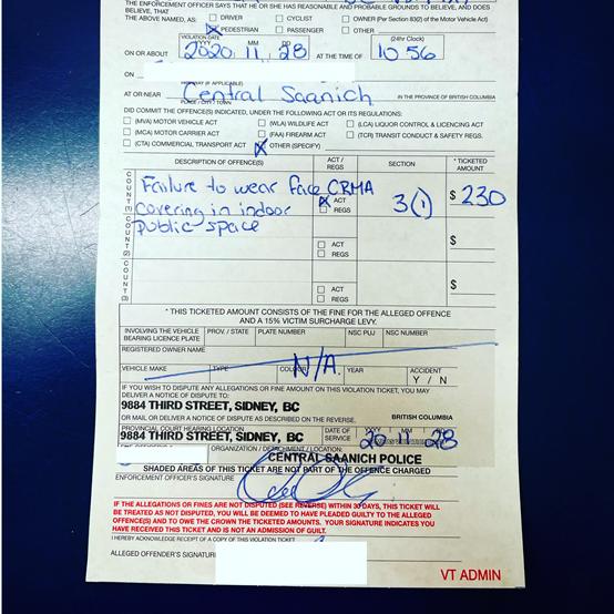 BC省至今已开出近50万加币的防疫罚款