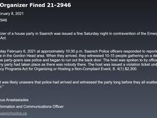 萨尼奇警方开罚派对人士