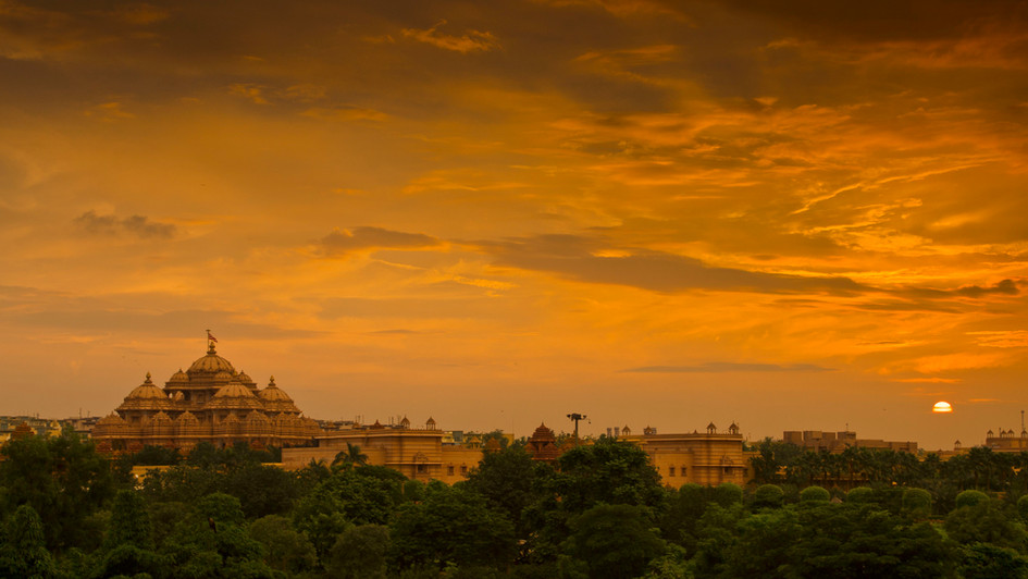 Akshardham Temple Sunset