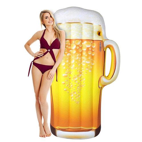Inflatable beer mug pool float