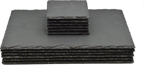 Beautifully Boxed Slate Placemats and Coasters. Six of each.