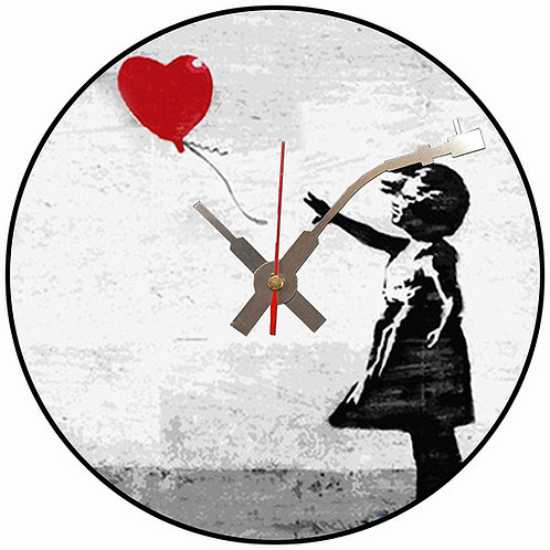 Iconic Banksy Girl with Red Balloon Vinyl Wall Clock