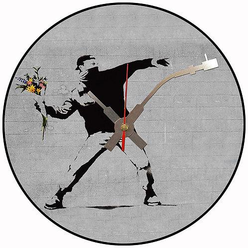 Iconic Banksy Flower Bomb Vinyl Wall Clock