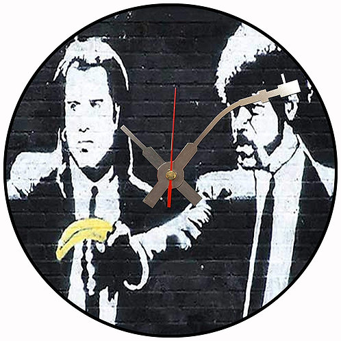 Iconic Banksy Pulp Fiction  Vinyl Wall Clock