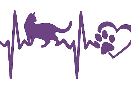 Cat Heart Beat with Heart and Paw